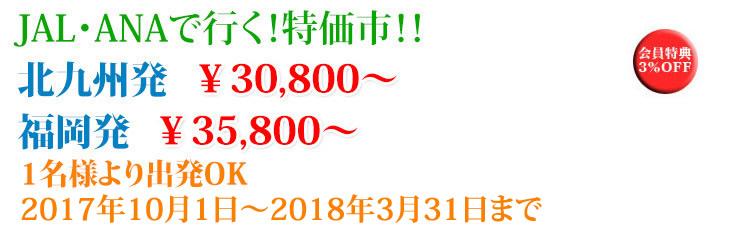 JAL・ANAで行く!特価市!!北九州発 30,800円 福岡発 35,800円1名様より出発OK2016年4月1日~2016年10月1日まで